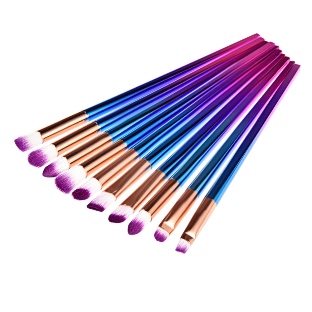 10Pcs Blusher Makeup Brush set Eyeliner Eyeshadow Powder Cosmetic Brushes Rainbow Contour Blending Eyes Make-up Brush Kit 7 pcs cosmetic face cream powder eyeshadow eyeliner makeup brushes set powder blusher foundation cosmetic tool drop shipping