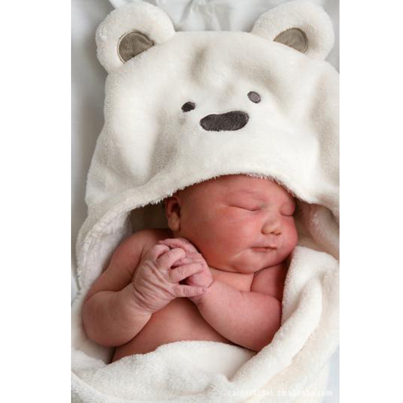Coral Fleece baby hooded bathrobe bath towel baby fleece receiving blanket neonatal hold to be Children kids infant bathing