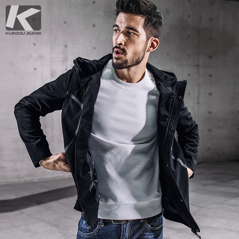 KUEGOU New Autumn Mens Hooded Jackets And Coats Patchwork Zipper Black Color Brand Clothing Man's Slim Clothes Male Tops 0715