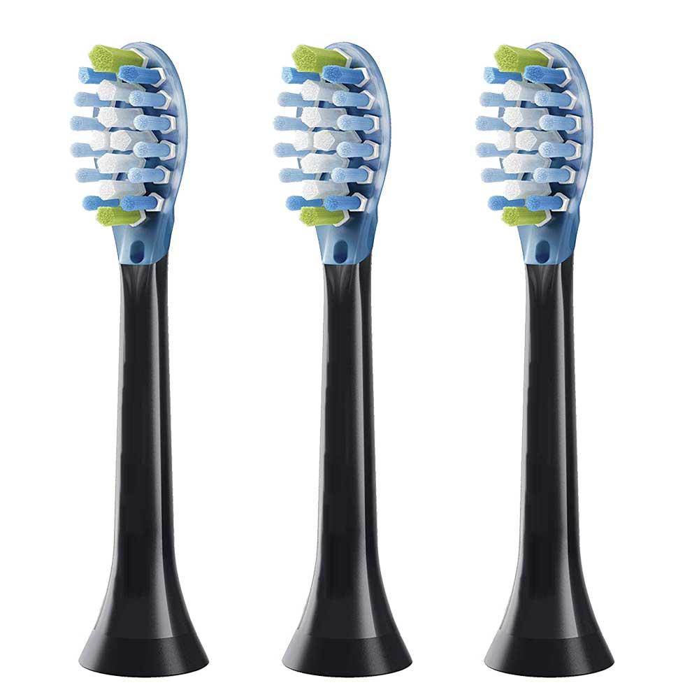 3pcs For Philips Sonicare C3 Premium Plaque Control Toothbrush Heads HX9043 HX9053 HX9063 HX9073/65 Black For Sensitive Teeth