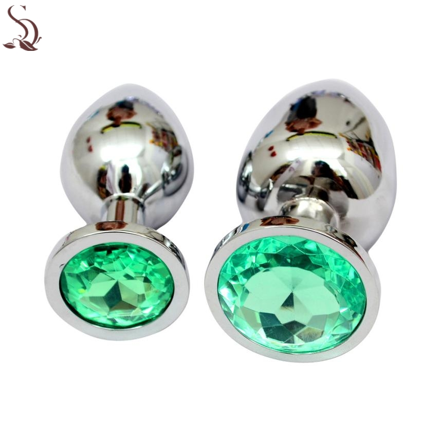 Hot Erotic crystal Silver colour metal backyard stainless steel plug anal hitch Jan28