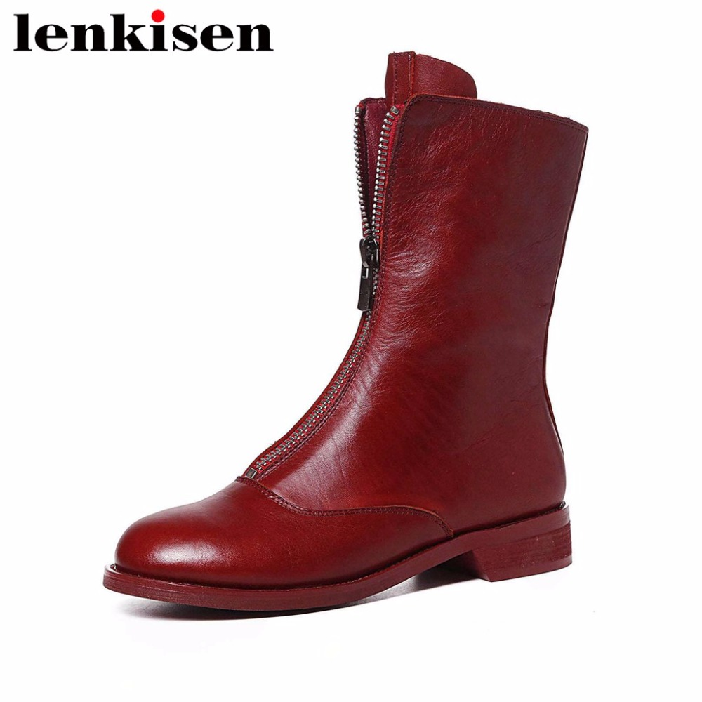 Lenkisen high quality handmade round toe zipper genuine leather low heels autumn winter retro shoes women mid-calf boots L65 zorssar 2018 new fashion women boots genuine leather zipper round toe mid heels womens mid calf boots autumn winter women shoes