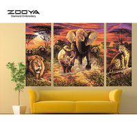 ZOOYA Diamond Embroidery 5D DIY Diamond Painting Forest Animal World 3PCS Diamond Painting Cross Stitch Rhinestone