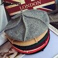 [Dexing] 2017 de invierno primavera otoño gris vintage fashion100 % mujeres boina de lana sombrero pintor calabaza cap sentía wome sombrero de 11 colores