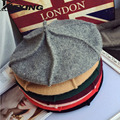 2016 зима весна осень серый vintage fashion100 % Шерсть женщин шлем берета тыквы Художник cap чувствовал воме в шляпе 11 цвет