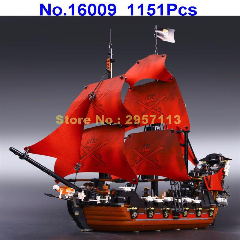 LEPIN 16009 1151pcs Queen Anne\'s revenge Pirates of Caribbean Building Block Compatible 4195 Brick Toy lepin 22001 imperial warships 16009 queen anne s revenge model building blocks for children pirates toys clone 10210 4195