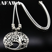 Stainless Steel Tree Of Life Necklaces Women Men Jewelry Silver Color Tree Pendant Chunky Long Necklace Choker colares N176187