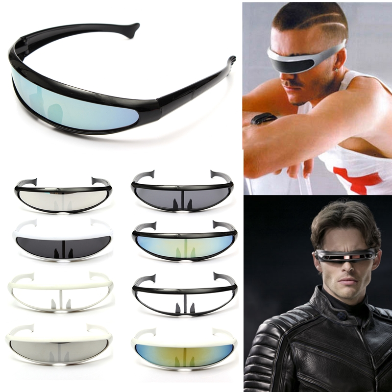 Stylish Cool Stylish UV400 Protecting Laser Sun Glassess Googgles Personality Space Robot Conjoined Lens Sunglasses