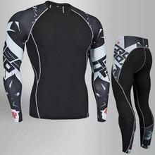 Комплект одежды для ММА, мужские тренировочные штаны, футболка для бодибилдинга, штаны для пробежек, мужской набор, компрессионная одежда, термобелье