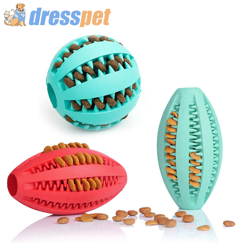 Pet Dog Toys Funny Interactive Elasticity Ball Dog Chew Teech Clean Bite Resistant food feeder Rubber ball for Small Large Dogs image