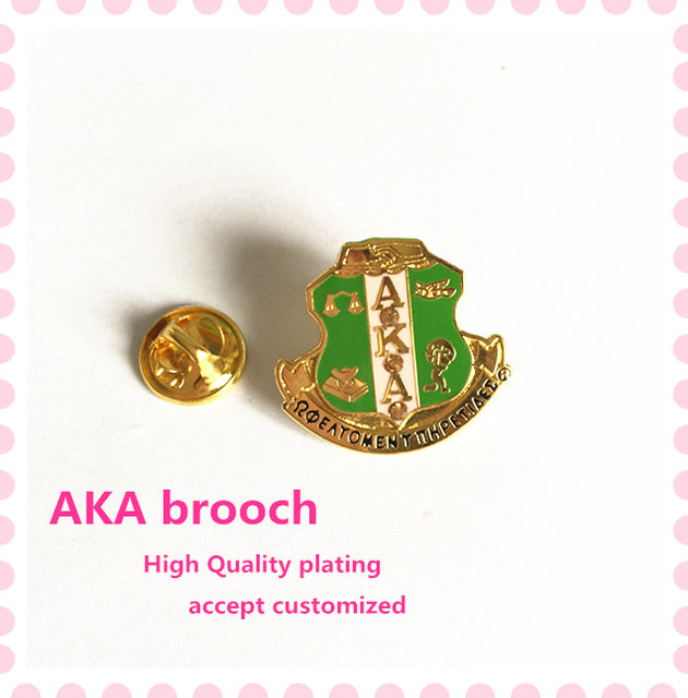 Tendência nova AKA crista esmalte broche 25 25mm K Alpha Alfa fraternidade  grego verde rosa 715604d534a