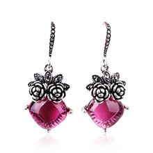 2017 new Korean fashion retro Flower Crystal Earrings temperament long earrings owl female Korean jewelry