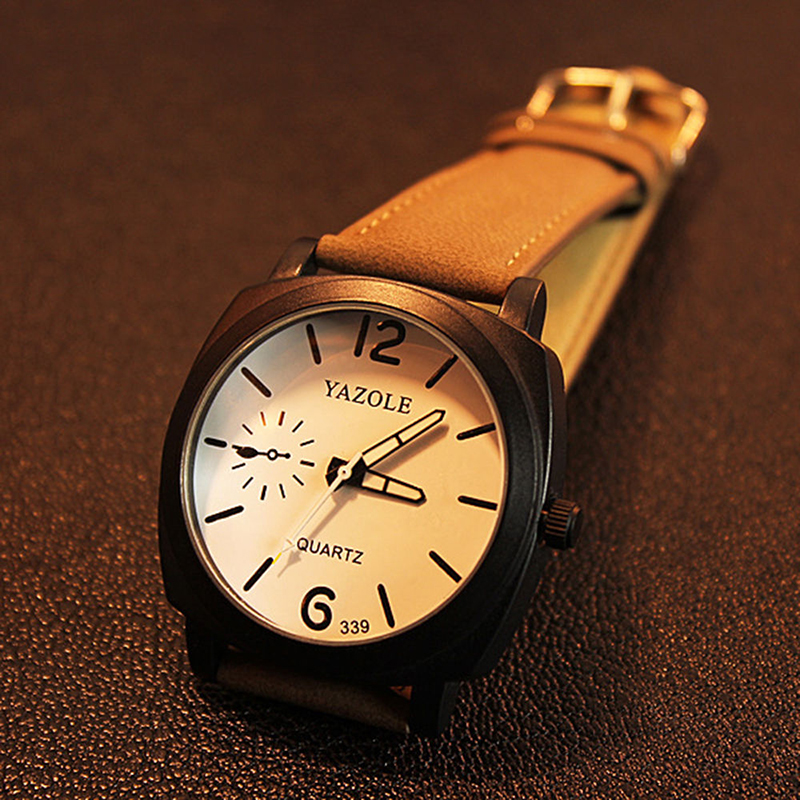 339 Fashion Men Quartz Watch Top brändi luksuslik nahk käekellad - Meeste käekellad - Foto 2