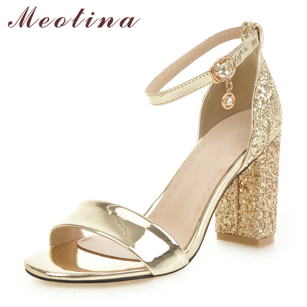Meotina Women Shoes Summer Sandals Glitter Square Heel Shoes Sexy Super High Heel Ankle Strap Sandals Lady Gold Plus Size 34-46