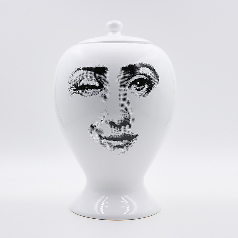 Fornasetti Vase Decor Flower Pot European Ceramic Decorative Sealing Vase Home Decoration Accessories Christmas