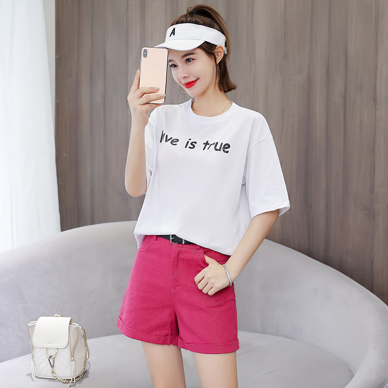 Women 2 Piece Set Cotton T-shirt Shorts with Belt Two-piece Summer 2019 Casual Fashion Suit Female Matching Sets Outfits Clothes