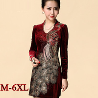 6xl Plus Size Winter Dress 2015 Chinese Style Vintage Gold Velvet Dress Elegant Phoenix Embroidery Sequin