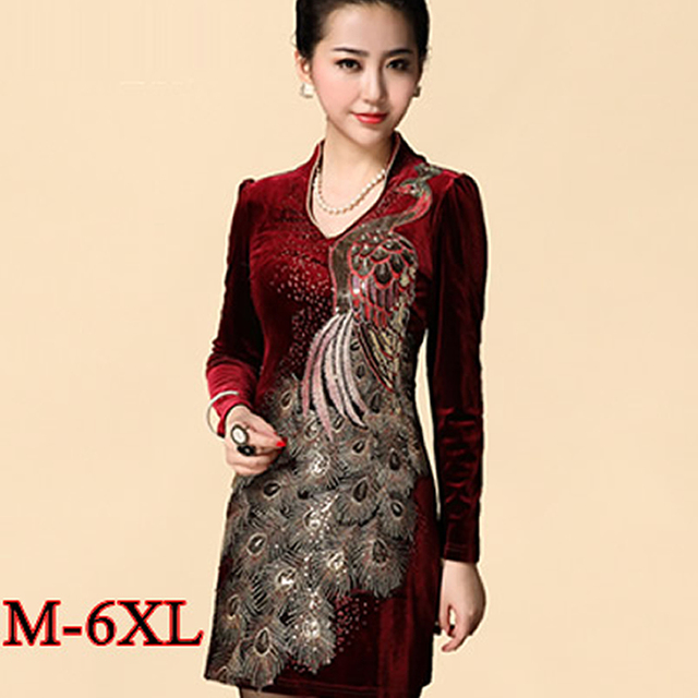 d64e3d9d31 6xl plus size Winter Dress 2016 Chinese Style Vintage Gold Velvet Dress  Elegant Phoenix Embroidery Sequin Dresses Women Clothes