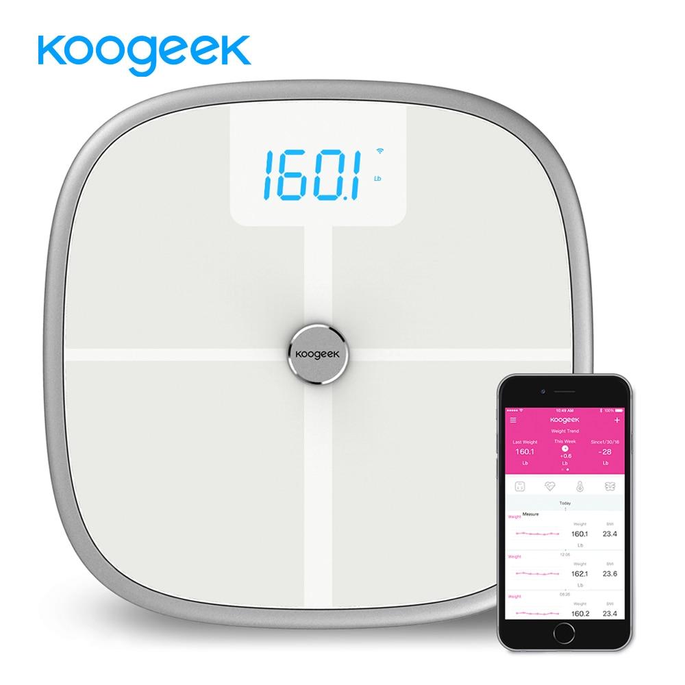 лучшая цена Koogeek Smart Scale Bluetooth Wi-Fi Health Body Weight Scale Sync Measure Muscle Bone Mass BMI BMR Body Fat Water Bathroom Scale