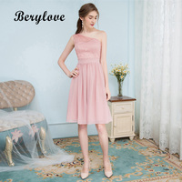 Berylove短いピンク/パープル/ブルゴーニュシフォンレース帰郷ドレス2018ミニワンショルダーホームカミングドレスカクテルドレス