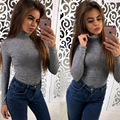 T-shirt Women's  2017 Autumn Long Sleeve Turtleneck Fashion Sexy Top knitted Cropped Tops Slim Fit Solid Crop Top Tee Femme