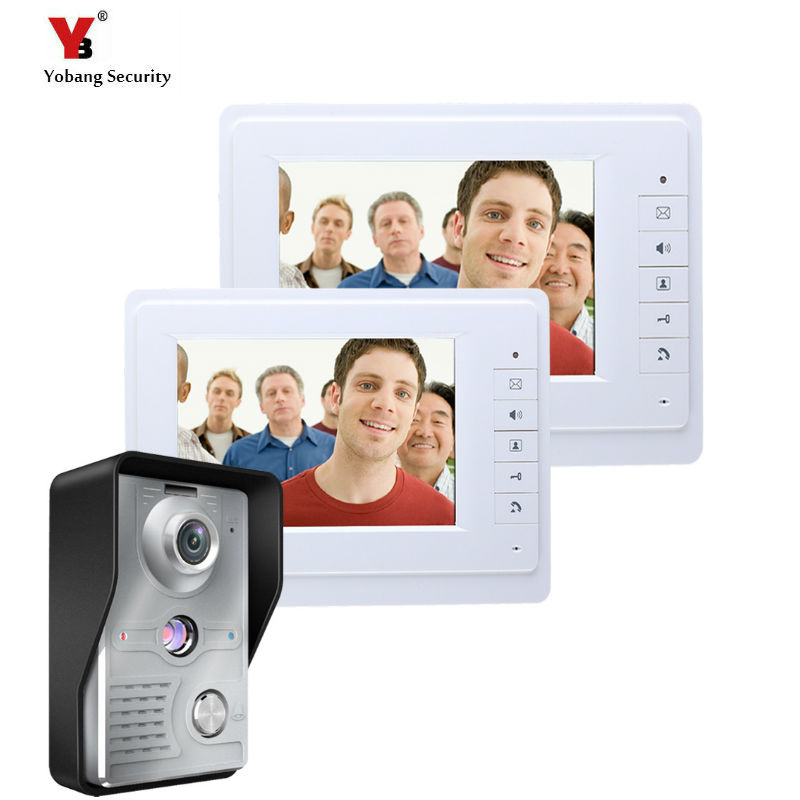 Yobang Security 7 inch video door phone intercom door bell system with IR camera hands-  ...