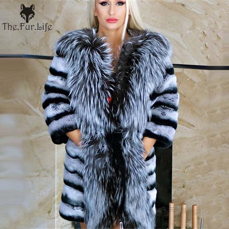 New Design Real Chinchilla Rex Rabbit Fur Coat With Big Silver Fox Collar Wam Winter Wholesale For Women Natural Fur Jackets