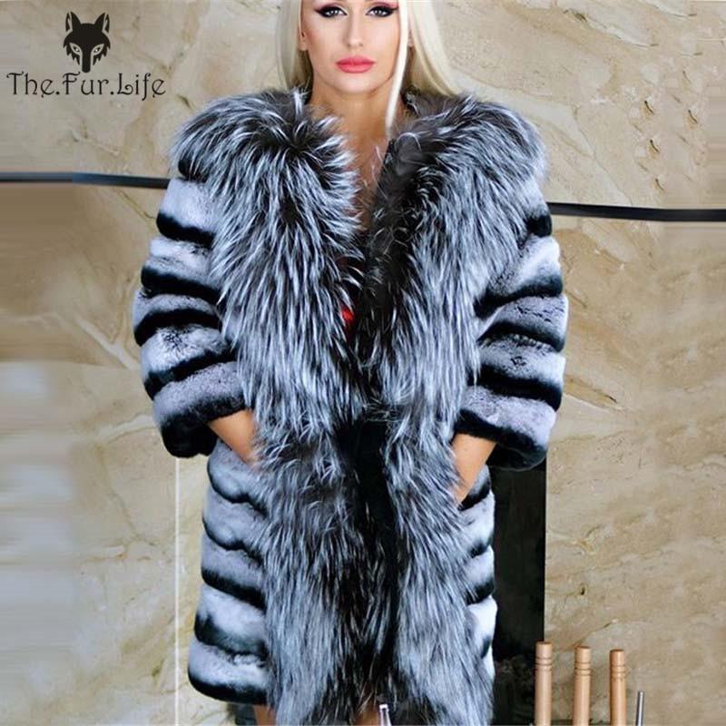 Nouveau Design Réel Chinchilla fourrure de lapin rex Manteau Avec Big Silver Fox Col Wam D'hiver En Gros Pour Femmes Naturel vestes en fourrure