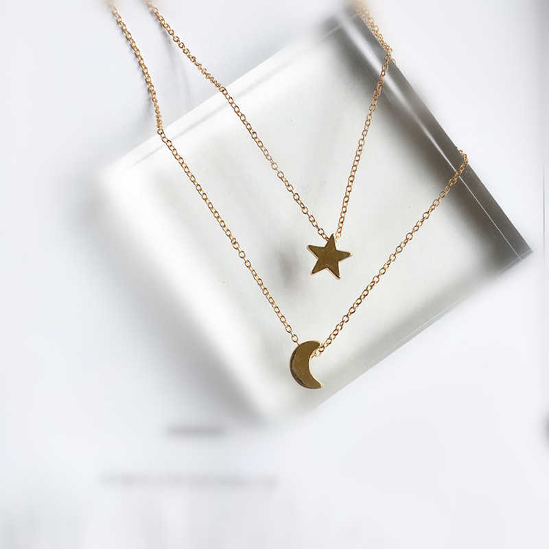 long star moon necklaces pendant fashion Silver Gold Color jewelry statement necklace for Women X197