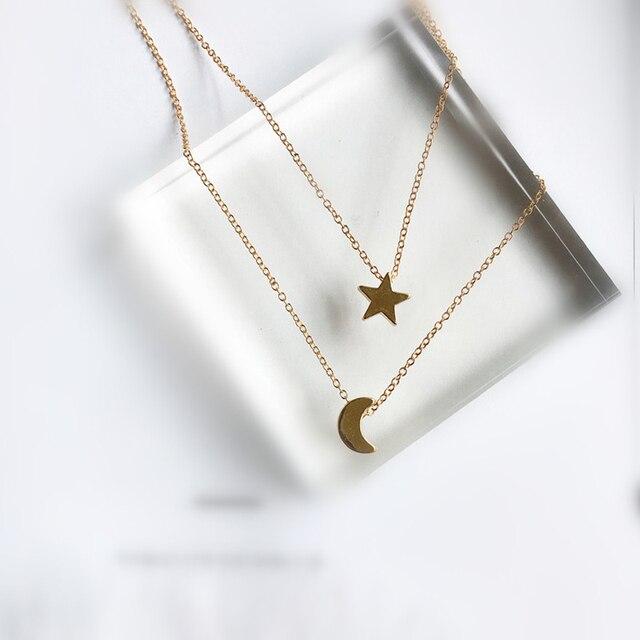 abd4c51a6989 Largo estrella Luna collares colgante moda plata oro Color joyería  declaración Collar para las mujeres X197