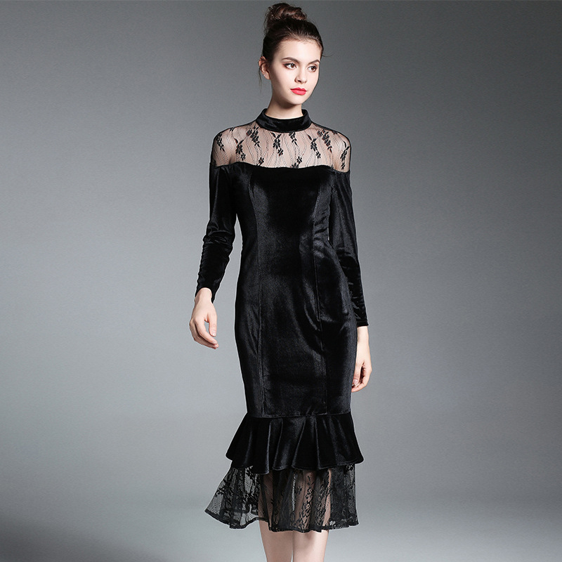 High Quality British Style Runway 2017 Fall New Lace Collar Velvet Ruffle Dress Strapless Perspective Black Trumpet Dresses S XL