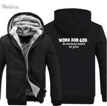 Work For God The Retirement Benefits Are Great Hoodies Men Letter Print Hoodie 2018 Winter Warm Fleece Zipper Sweatshirts Jacket retirement benefits and socioeconomic development