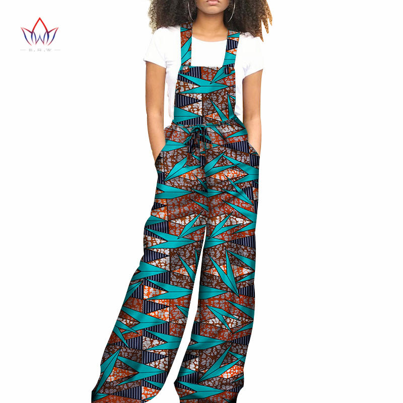 2019 africaine imprimer décontracté combinaison pour femmes sans manches cheville longueur wid jambe femmes combinaison coton Streetwear grande taille wy3643