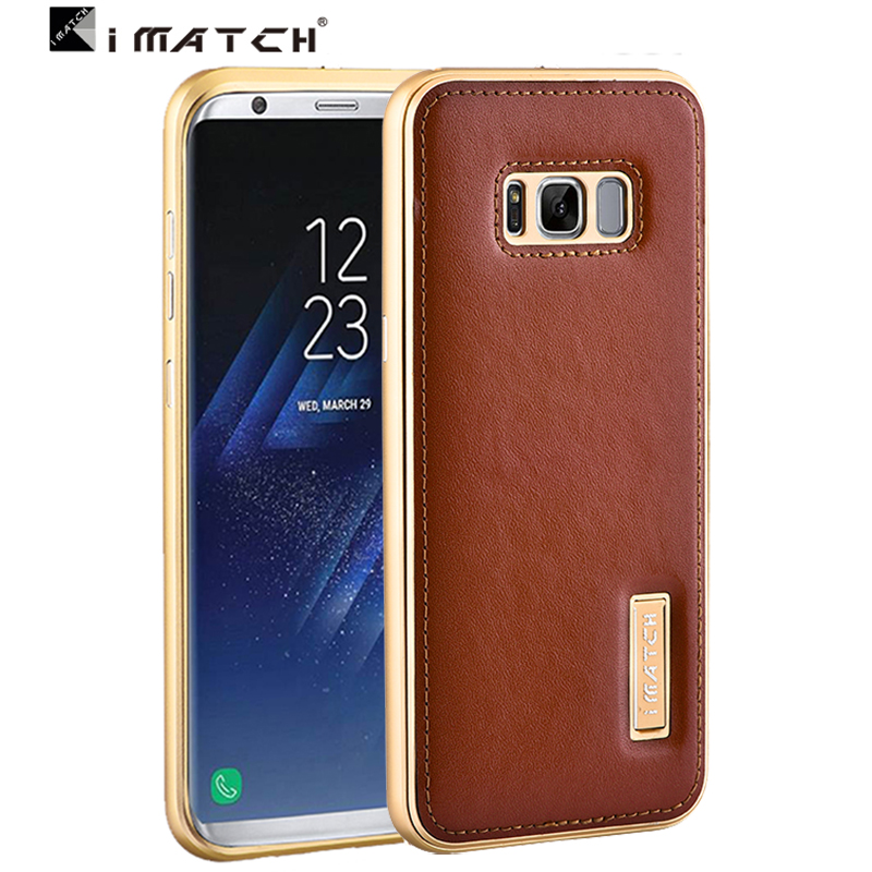 sports shoes 93059 94c17 US $28.31 5% OFF|for Samsung S8 plus case Metal aluminum + Genuine leather  back cover case for Samsung Galaxy S8 plus-in Half-wrapped Case from ...