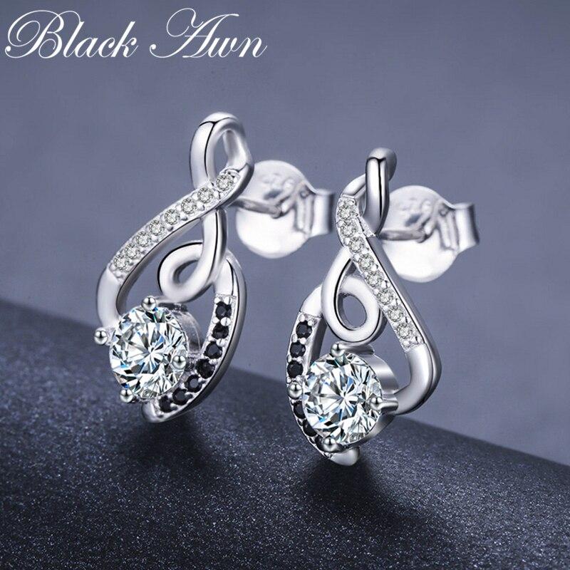 [black Awn] Genuine 925 Sterling Silver Female Earring Fine Jewelry Vintage Water-drop Wedding Stud Earrings For Women T006 #4
