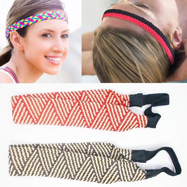 61f855c2f42d 2018 Braided Anti-slip Hair Bands Sweatband Braided Headband Elastic  Running Sport Yoga Stretch Hair Gym Headwear Women Men