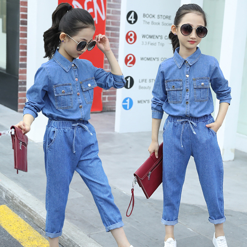Woman Autumn Denim Fits New 2018 Blasting Model Youngsters Clothes Set Youngsters's Cowboy Two-Piece Outfit Women Jean Physique Go well with