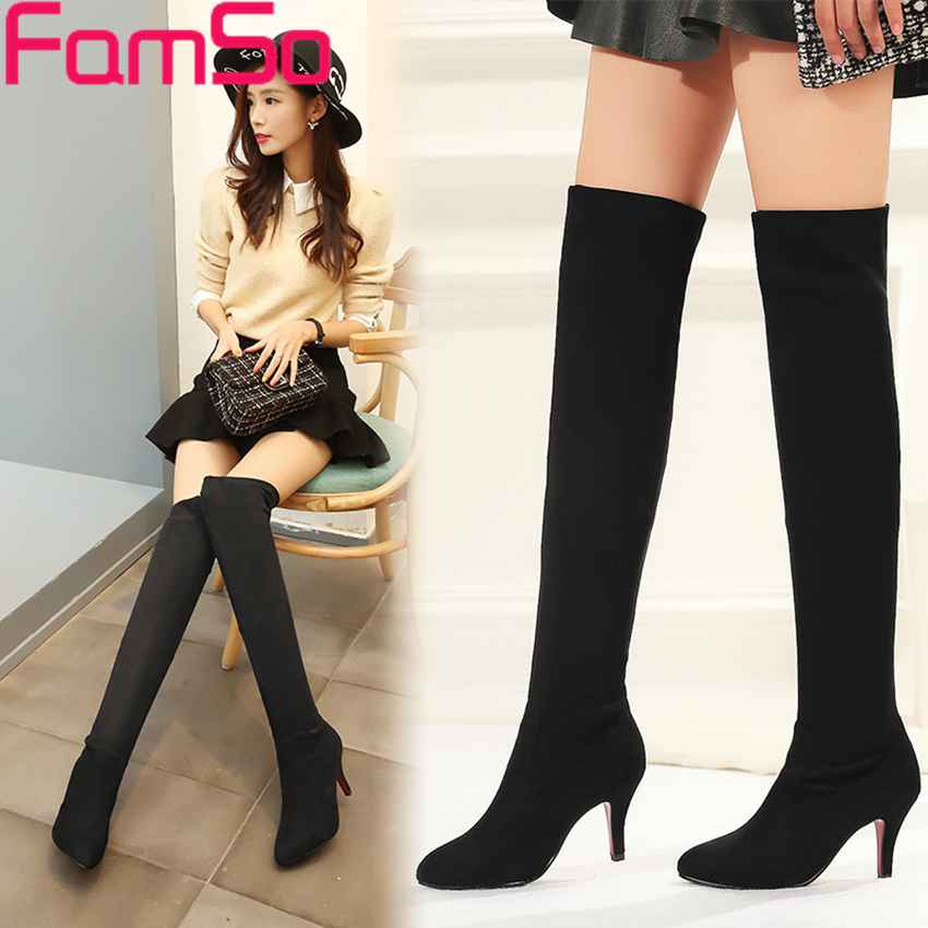 Free shipping 2016 New Shoes font b Women b font Boots Black Over The Knee Boots