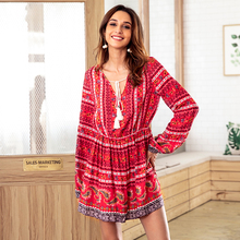 Spring and autumn new ladies cotton print dress Europe and the United states V-neck drawstring long sleeve beach dress vestidos womens spring off the shoulder dresses 2018 europe and united states brand autumn female print dress casual ladies long dress