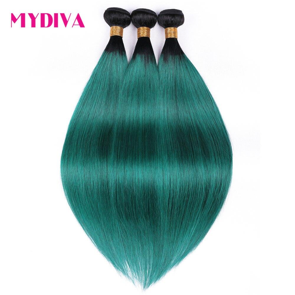 Ombre Brazilian Straight Hair Weave Bundles 3PCS Dark Root T1B Green Human Hair Pre-Colored Ombre Brazilian Non Remy Hair Mydiva