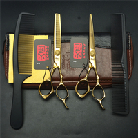 4Pcs Suit 6 Golden KASHO Professional Human Hair Scissors Hairdressing Combs Cutting Thinning Shears Hair Styling