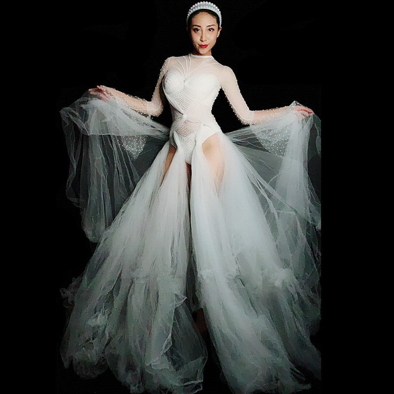 Conduites De Étape 2019 Carburant Performance See through Strass Porte Mesh Fuite Bar Parti Sexy Dress Mode dress Chanteuse Costume Blanc Headdress QrBstdCxho