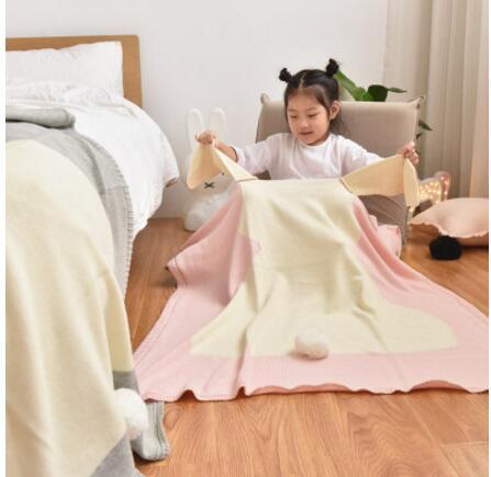 Ins style nordique doux mignon lapin tricoté couverture jeter fil couverture tricot bébé couverture enfants climatisation laine couverture cadeau
