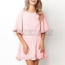 Cuerly Elegant Solid Ruffles Women Dress Half Sleeve Loose Casual Summer O-neck High Waist Sexy Ladies Dresses L8