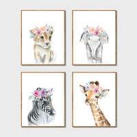 Tiere Floral Crown Kunst Decor Leinwand Malerei, Baby Mädchen Drucke Tier Giraffe Elefant Löwe Wand Kunst Bild Nursery Poster