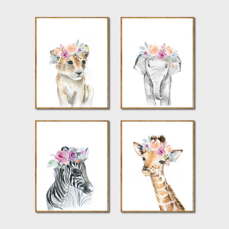 Animals Floral Crown Art Decor Canvas Painting , Baby Girl Prints Animal Giraffe Elephant Lion Wall Art Picture Nursery Poster