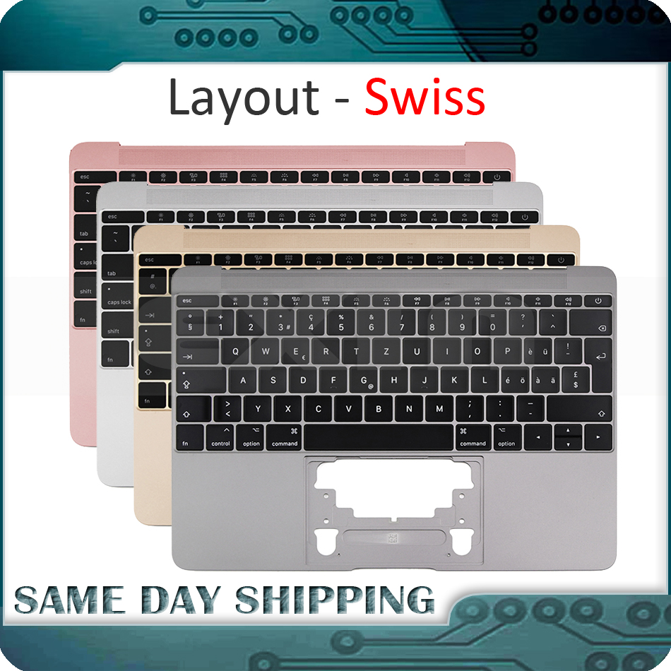 for Macbook 12 A1534 Switzerland Swiss Keyboard w Topcase 2015 2016 2017 Years Gold Gray Grey