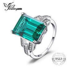 JewelryPalace Luxury 5.9ct Created Emerald Cocktail Ring 100% Real 925 Sterling Silver Rings for Women Fine Jewelry Accessories