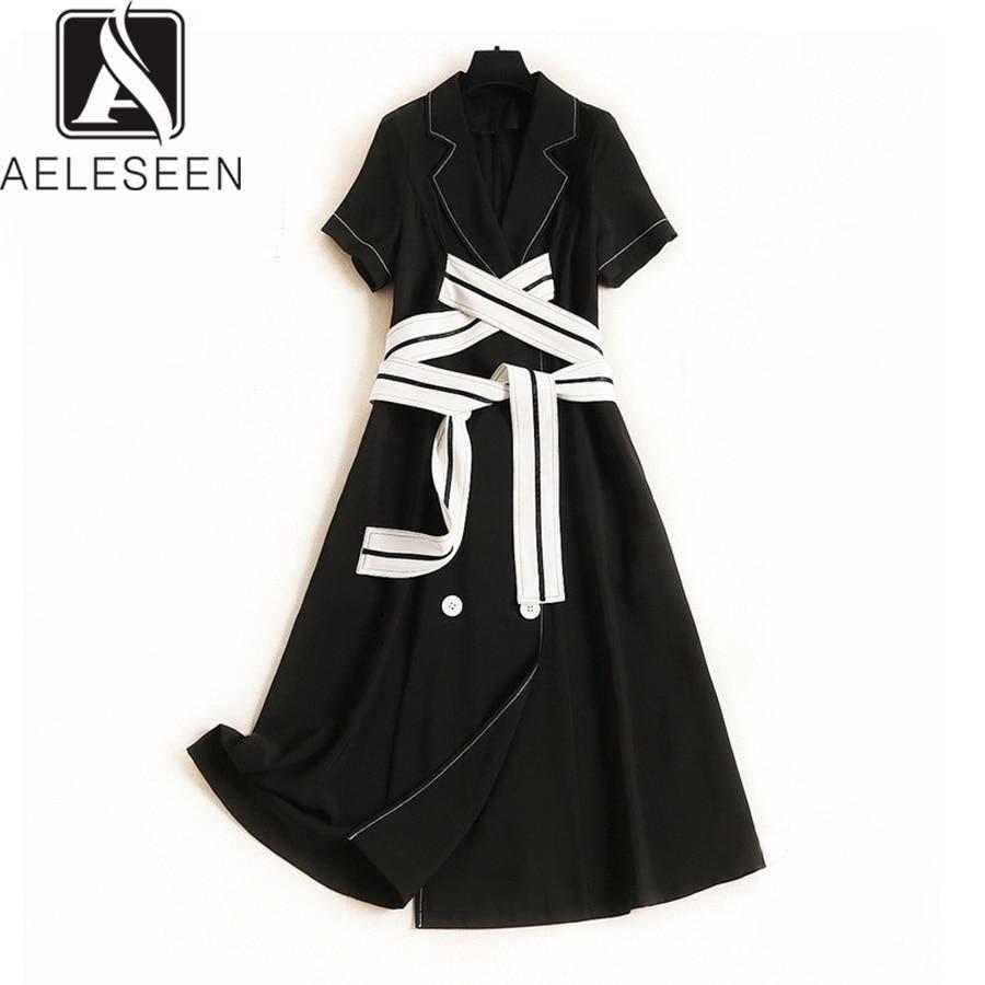Aeleseen 새로운 패션 2019 여름 하이 스트리트 드레스 여성 거꾸로 칼라 사무실 레이디 미디 드레스 대비 화이트 새시-에서드레스부터 여성 의류 의  그룹 1