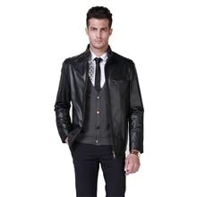 Humiture genuine  sheepshin Leather Jacket Motorcycle Men's Black Jacket 9927